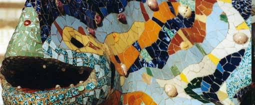 Mozaiek hagedis. Ingang Parc Güell