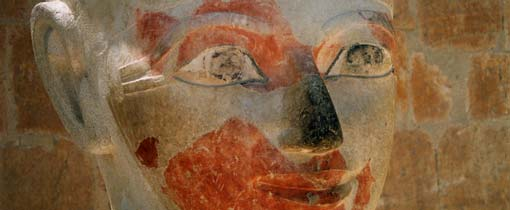 Vierduizend jaar terug in de tijd: De tijd van het oude Egypte en de farao's. Op de foto het beeld van farao Hatsjepsoet
