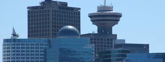 De skyline van Vancouver aan de Canadese westkust