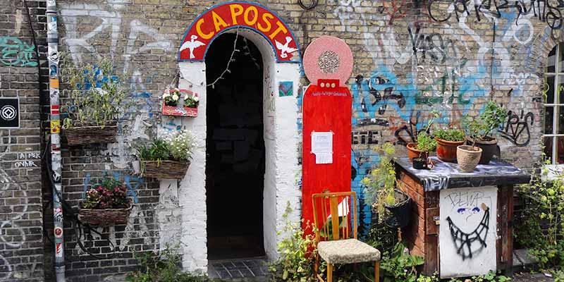 Het officieuse postkantoortje van vrijstaat Christiania