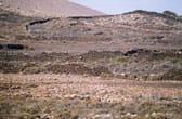 Muurtjes van gestapelde lavastenen op het Canarische Eiland Fuerteventura