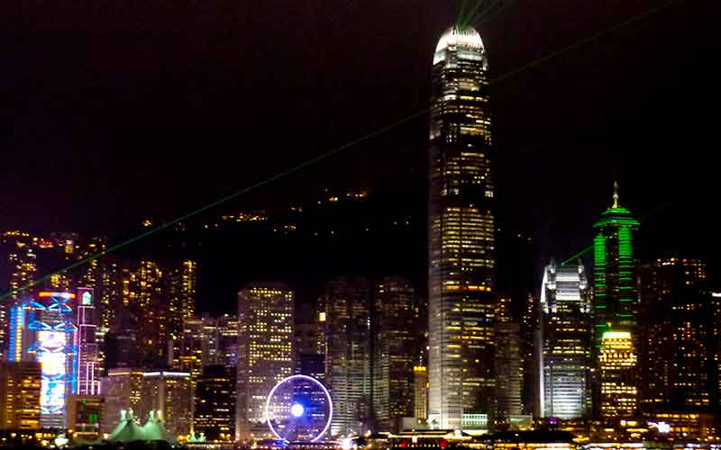 De skyline van Hongkong