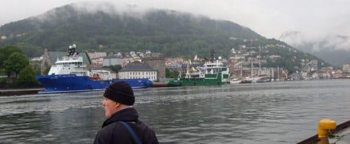 Havenstad Bergen aan de oostkust van Noorwegen