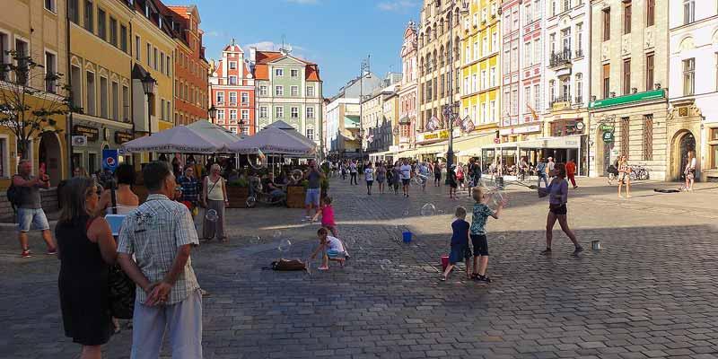 Rynek, het centrale plein in Wroclaw in Stare Miasto, de oude stad