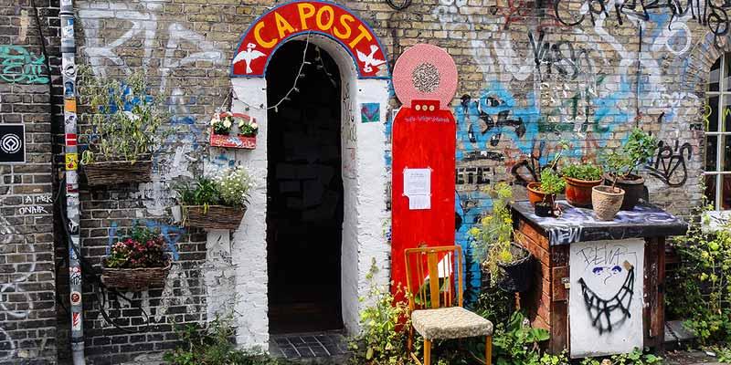 Vrijstaat Christiania in Kopenhagen, Denemarken
